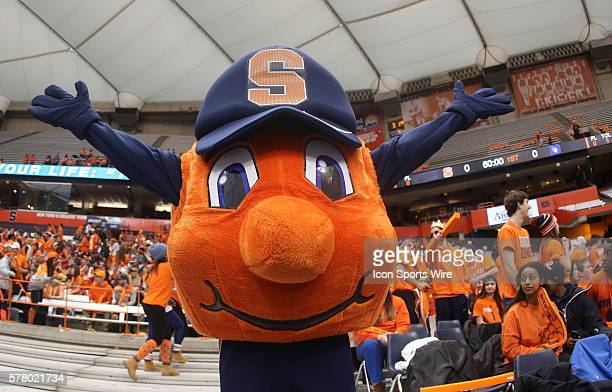 Syracuse Orange mascot Otto the Orange cheers during ncaa basketball game between Duke Blue Devils and Syracuse Orange at the Carrier Dome in...