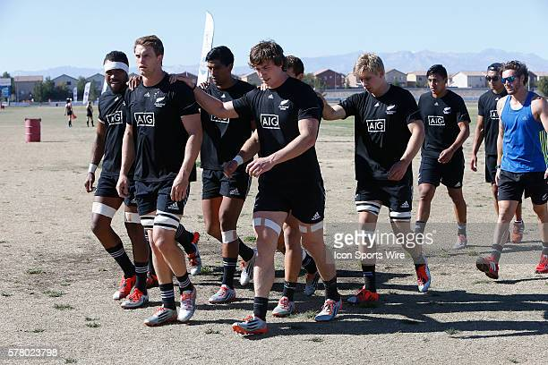 The New Zealand All Blacks walk off the practice field prior to the cup semi final with the United States at the USA Sevens Rugby tournament in Las...