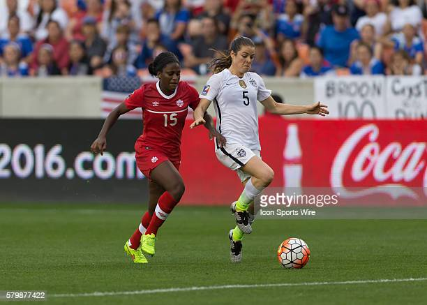 Canada Forward Nichelle Prince and USA Defender Kelley O'Hara during the Women's Olympic qualifying soccer final match between Canada and USA at BBVA...
