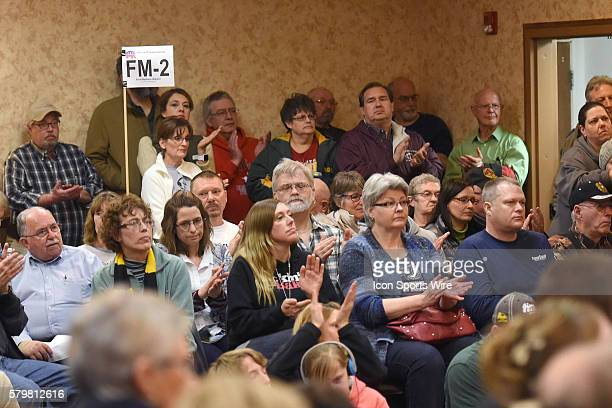 Caucus goers applaud following a speakers remarks during a local Republican Party caucus as part of the Iowa Caucus in Fort Madison Iowa Fort Madison...