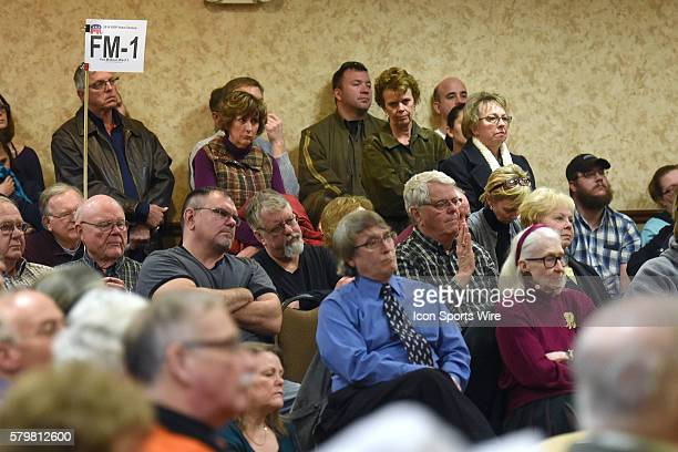 Caucus goers listen to speakers before voting during a local Republican Party caucus as part of the Iowa Caucus in Fort Madison Iowa Fort Madison...