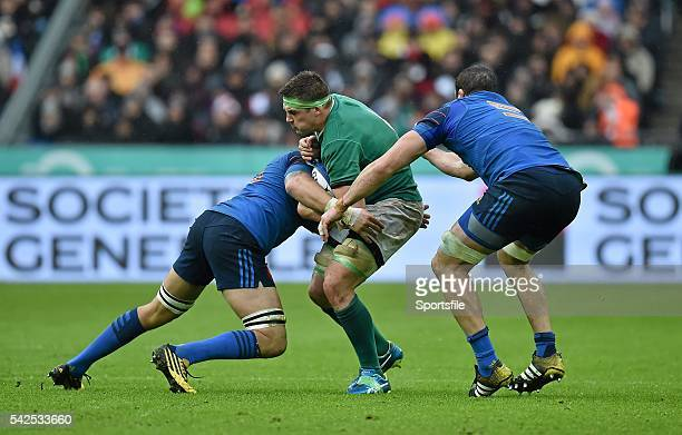 13 February 2016 CJ Stander Ireland is tackled by Yoann Maestri and Damien Chouly France RBS Six Nations Rugby Championship France v Ireland Stade de...