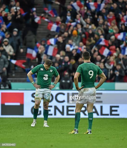 13 February 2016 Conor Murray and Jamie Heaslip Ireland after the final whistle RBS Six Nations Rugby Championship France v Ireland Stade de France...