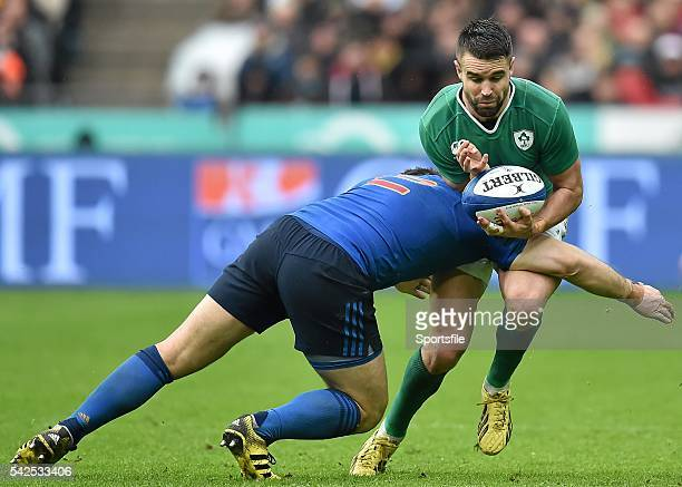 13 February 2016 Conor Murray Ireland is tackled by Guilhem Guirado France RBS Six Nations Rugby Championship France v Ireland Stade de France Saint...
