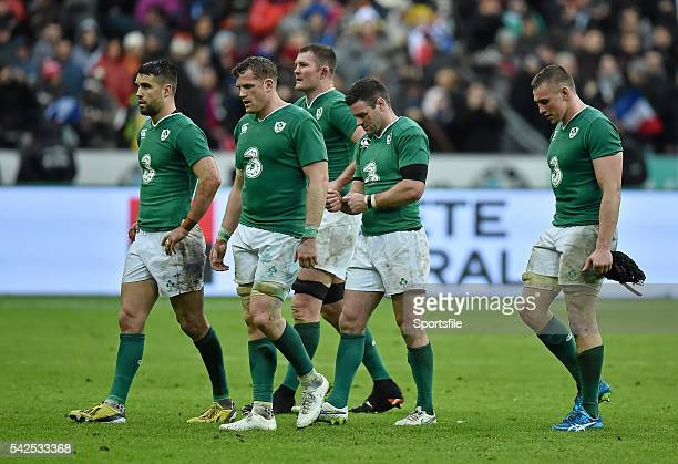 13 February 2016 Dejected Ireland players after the game RBS Six Nations Rugby Championship France v Ireland Stade de France Saint Denis Paris France...