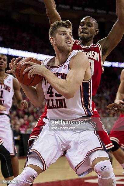 Illinois Fighting Illini forward Cameron Liss fights for a rebound as the Wisconsin Badgers come from behind to beat the Illinois Fighting Illini at...