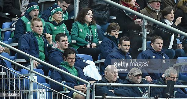 13 February 2016 Ireland players including Luke Marshall Jonathan Sexton Mike McCarthy Dave Kearney and Eoin Reddan look on late in the game RBS Six...