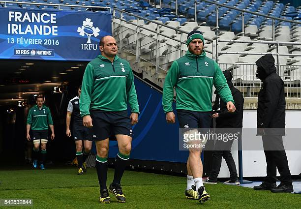 12 February 2016 Ireland's Rory Best left and Sean O'Brien arrive for the captain's run Ireland Rugby Captain's Run Stade de France Saint Denis Paris...