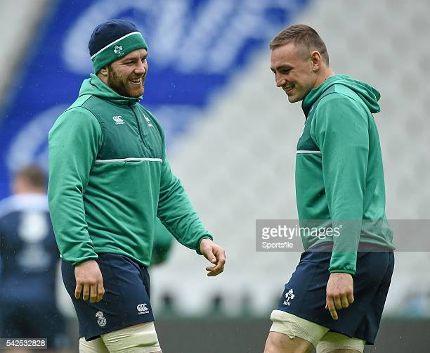 12 February 2016 Ireland's Sean O'Brien left and Tommy O'Donnell during the captain's run Ireland Rugby Captain's Run Stade de France Saint Denis...