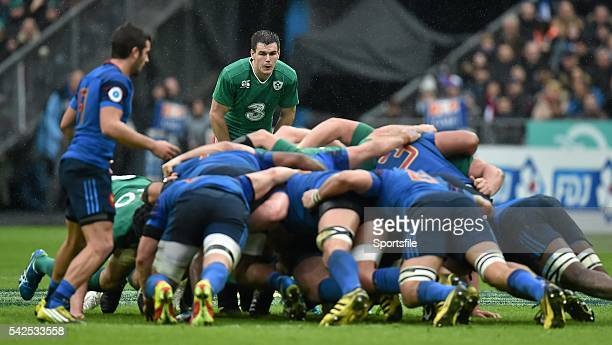 13 February 2016 Jonathan Sexton Ireland looks on as the packs engage in a scrum RBS Six Nations Rugby Championship France v Ireland Stade de France...