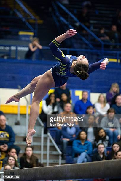 Milena Fabry competes on the Balance Beam during the meet between the George Washington Colonials, Northern Illinois Huskies and Kent State Golden...