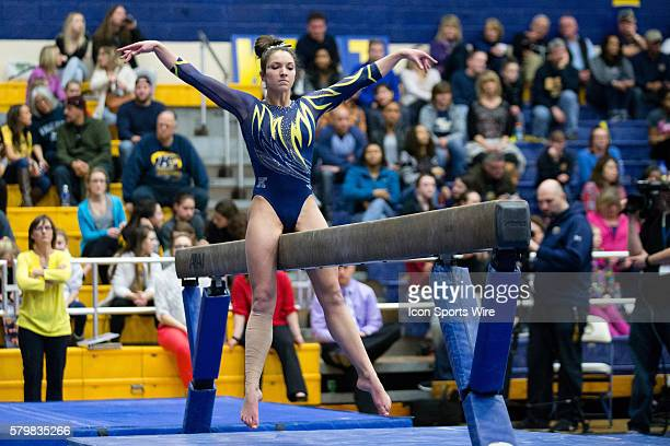 Milena Fabry competes on the Balance Beam during the meet between the George Washington Colonials Northern Illinois Huskies and Kent State Golden...