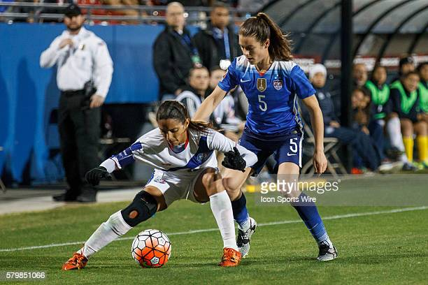 15 February 2016 Puerto Rico midfielder Laura Suarez and United States defender Kelley O'Hara during the Olympic Qualifying first round game between...