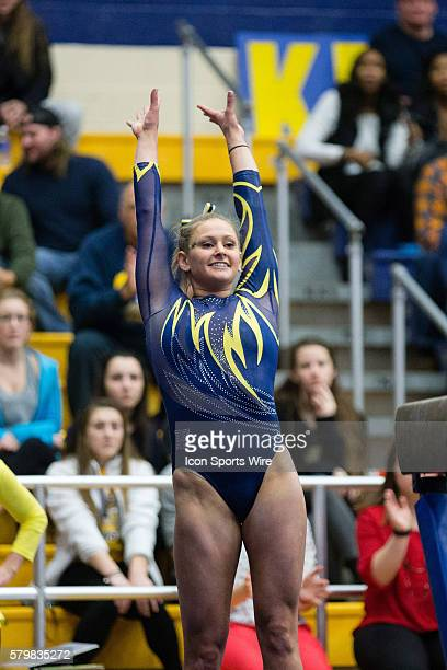 Rachel Stypinski competes on the Balance Beam during the meet between the George Washington Colonials, Northern Illinois Huskies and Kent State...