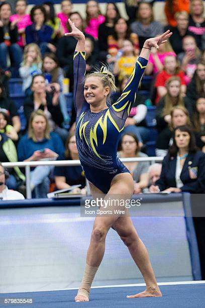 Rachel Stypinski of Kent State competes in the Floor Exercise during the meet between the George Washington Colonials Northern Illinois Huskies and...