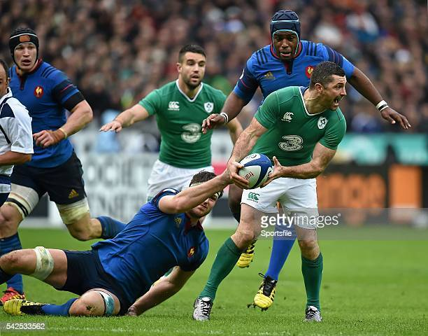 13 February 2016 Rob Kearney Ireland is tackled by Alexandre Flanquart France RBS Six Nations Rugby Championship France v Ireland Stade de France...