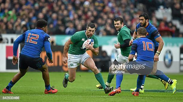 13 February 2016 Rob Kearney Ireland takes on the French defence RBS Six Nations Rugby Championship France v Ireland Stade de France Saint Denis...