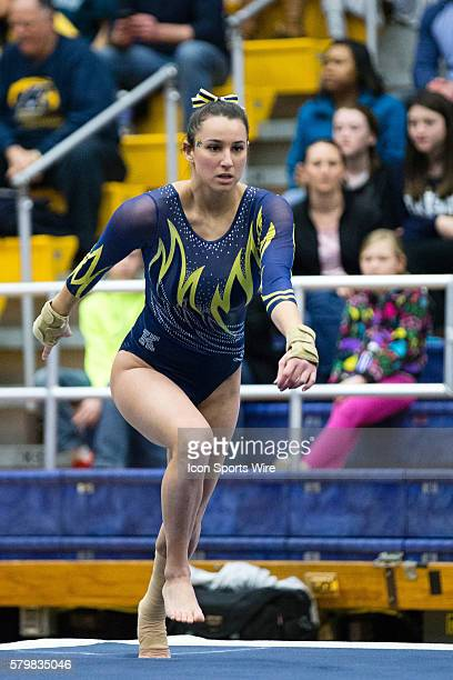 Samantha Gordon of Kent State competes in the Floor Exercise during the meet between the George Washington Colonials, Northern Illinois Huskies and...