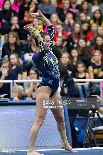 Samantha Gordon of Kent State competes in the Floor Exercise during the meet between the George Washington Colonials Northern Illinois Huskies and...