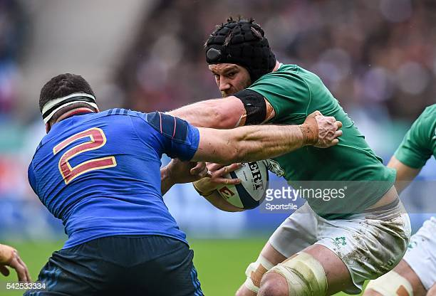 13 February 2016 Sean O'Brien Ireland is tackled by Guilhem Guirado France RBS Six Nations Rugby Championship France v Ireland Stade de France Saint...