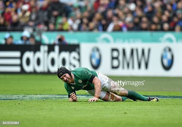 13 February 2016 Sean O'Brien Ireland reacts after picking up an injury RBS Six Nations Rugby Championship France v Ireland Stade de France Saint...