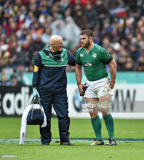 13 February 2016 Sean O'Brien leaves the field with team doctor Dr Eanna Falvey after picking up an injury RBS Six Nations Rugby Championship France...