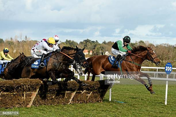 28 February 2016 Solita left with Robbie Power up jumps the last on their way to winning the Coralie Handicap Hurdle behind eventual 2nd place...