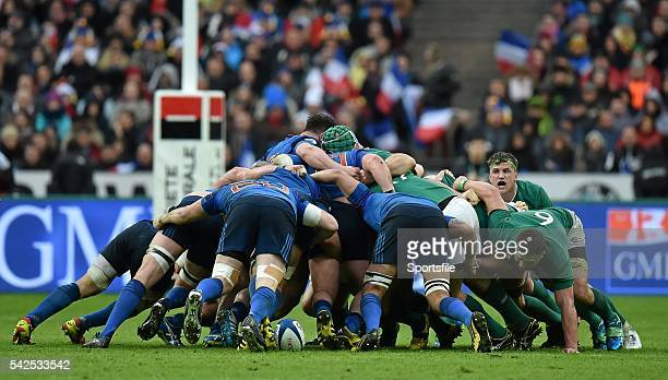 13 February 2016 The French pack get the shove on the Ireland pack during a scrum late in the game RBS Six Nations Rugby Championship France v...
