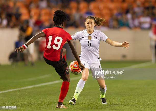 Trinidad Tobago Midfielder Kennya Cordner and USA Defender Kelley O'Hara during the Women's Olympic semifinal qualifying match between USA and...