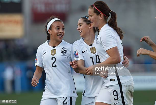 13 February 2016 United States players Mallory Pugh Morgan Brian and Lindsey Horan celebrate a goal during the Olympic Qualifying first round game...