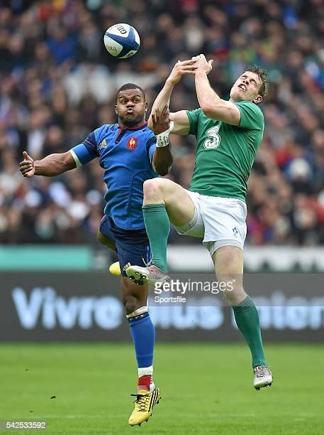 13 February 2016 Virimi Vakatawa France and Andrew Trimble Ireland contest a high ball RBS Six Nations Rugby Championship France v Ireland Stade de...
