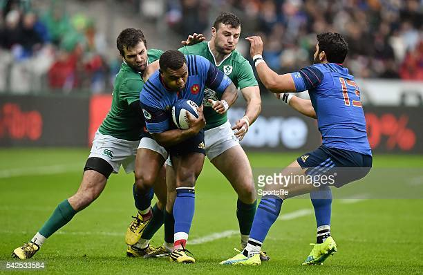 13 February 2016 Virimi Vakatawa France is tackled by Jared Payne left and Robbie Henshaw Ireland RBS Six Nations Rugby Championship France v Ireland...