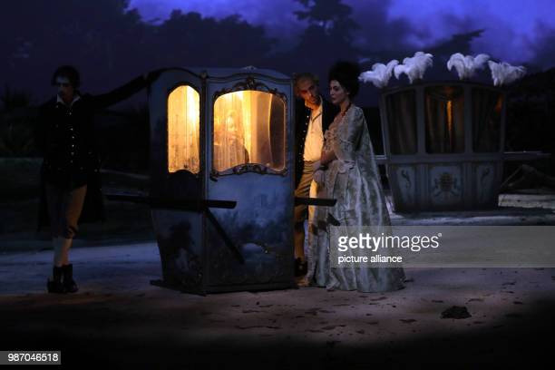 21 February 2018 Germany Berlin Volksbuehne theatre The actresses Ingrid Caven as Durchesse de Valselay and Leonie Jenning as Mademoiselle Jensling...