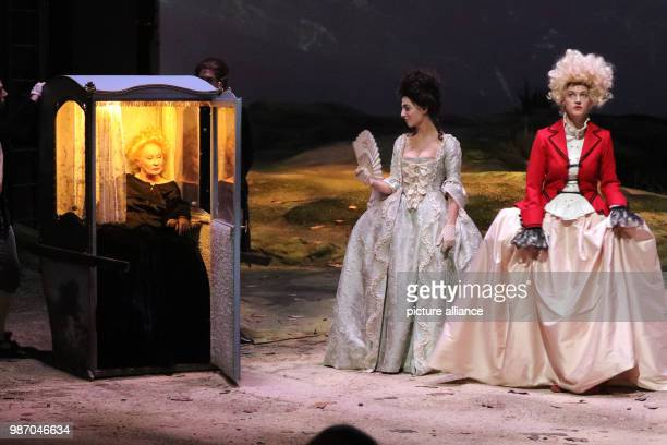 21 February 2018 Germany Berlin Volksbuehne theatre The actresses Ingrid Caven as Durchesse de Valselay Leonie Jenning as Mademoiselle Jensling and...