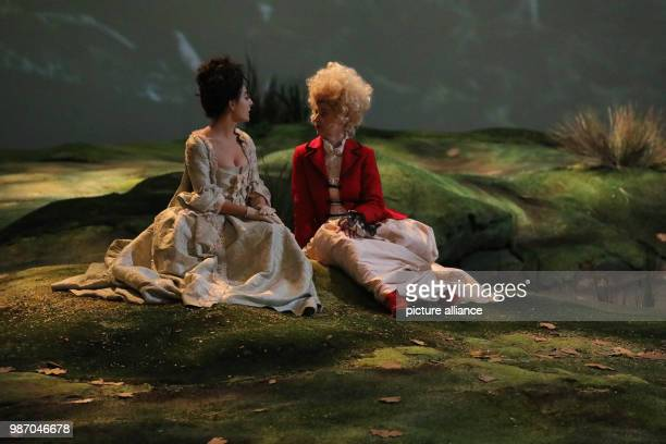 21 February 2018 Germany Berlin Volksbuehne theatre The actresses Leonie Jenning as Mademoiselle Jensling and Anne Tismer as Contesse de Weinsbach...