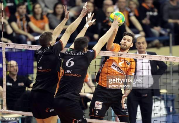 Volleyball Mens Champions Legaue Berlin Volleys vs Jastrzebski Wegiel at the Max Schmeling Hall The Polish players Rodrigo Quiroga and Damian Boruch...