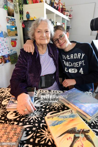 The 86 year old youtuber 'Marmeladenoma' photographed in her flat with her 16 year old granddaughter Enkel Janik who is responsible for the...