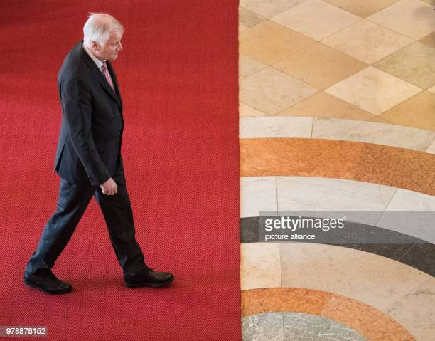 The Bavarian Premier Horst Seehofer of the Christian Social Union leaves the stage after his speech during the traditional New Year reception of the...