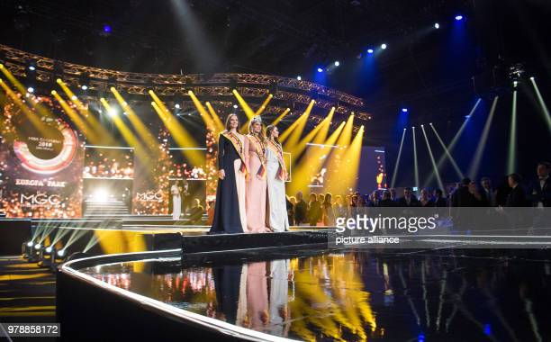On third place Sarah Zahn Miss Germany 2018 Anahita Rehbein also crowned Miss BadenWuerttemberg and second placed Alena Krempl also Miss West Germany...