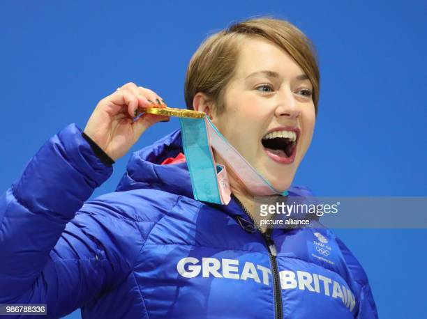 18 February 2018 Pyeongchang South Korea Olympics womens Skeleton award ceremony Medal Plaza Lizzy Yarnold of Great Britain holds up her gold medal...
