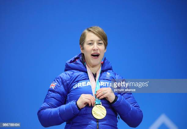 18 February 2018 Pyeongchang South Korea Olympics womens Skeleton award ceremony Medal Plaza Lizzy Yarnold of Great Britain celebrates her gold medal...
