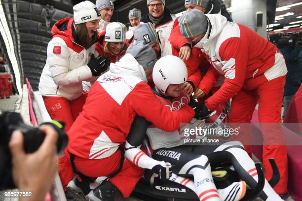 14 February 2018 Sout Korea Pyeongchang Olympic Doubles Luge Men Alpensia Sliding Centre Peter Penz and Georg Fischler of Austria celebrate with...