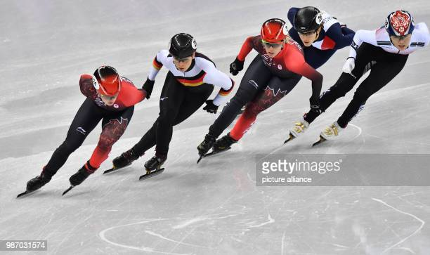 22 February 2018 South Korea Gangneung Olympics Shorttrack 1000m womens first quarterfinals Gangneung Oval Canada's Kim Boutin Germany's Bianca...