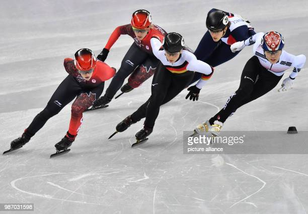 22 February 2018 South Korea Gangneung Olympics Shorttrack 1000m womens first quarterfinals Gangneung Oval Canada's Kim Boutin Canada's Marianne St...