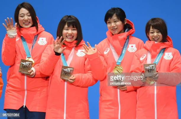 22 February 2018 South Korea Gangneung Winter Olympics women's speed skating team pursuit event award ceremony Medal Plaza The team of Japan with...