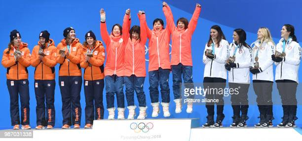 22 February 2018 South Korea Gangneung Winter Olympics women's speed skating team pursuit event award ceremony Medal Plaza The team of the...