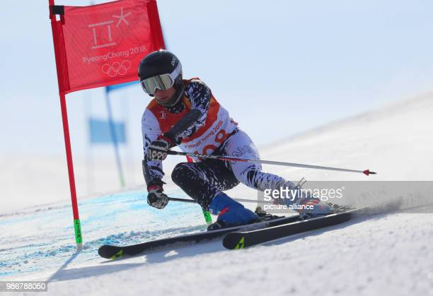 18 February 2018 South Korea Pyeongchang Olympics Alpine Skiing Giant slalom men 1st heat Yongpyong Alpine centre Jeffrey Webb aof Malaysia in action...