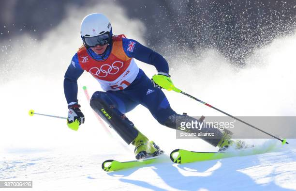 22 February 2018 South Korea Pyeongchang Olympics Alpine Skiing Men's slalom first round Yongpyong Alpine Centre Great Britain's Laurie Taylor in...