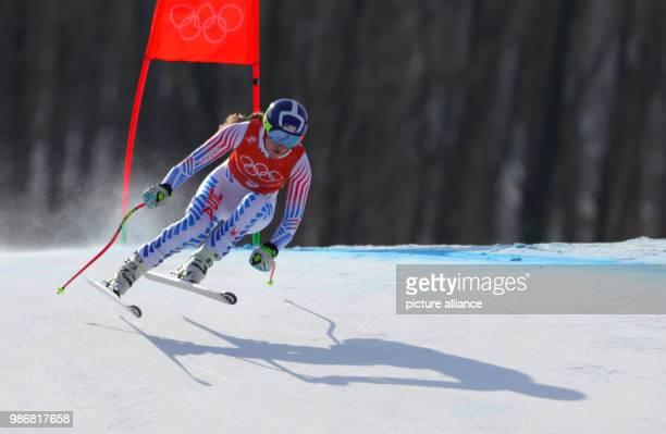 19 February 2018 South Korea Pyeongchang Olympics Alpine Skiing Women's downhill Training Joengseon Alpine Centre Mikaela Shiffrin from the US trains...