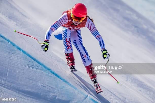 20 February 2018 South Korea Pyeongchang Olympics Alpine Skiing Women's downhill Training Joengseon Alpine Centre Mikaela Shiffrin from the USA in...